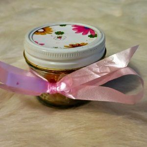 Tiny Jar With Floral Lid and 5 Vintage Lg Marbles
